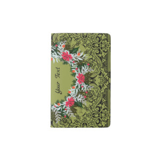 "Wreath ""Gray Red"" Flowers Floral Pocket Notebook"