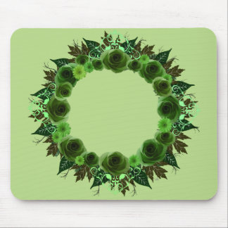 """Wreath """"Green Envy"""" Green Flowers Mouse Pad"""