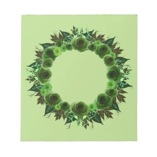 "Wreath ""Green Envy"" Green Flowers Notepad"