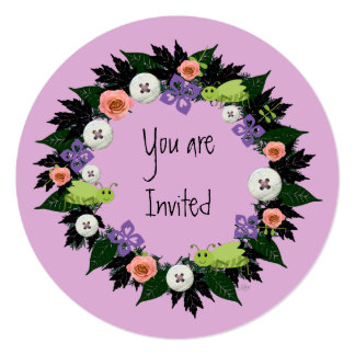 "Wreath ""Green Grasshopper"" Flowers Invitation"