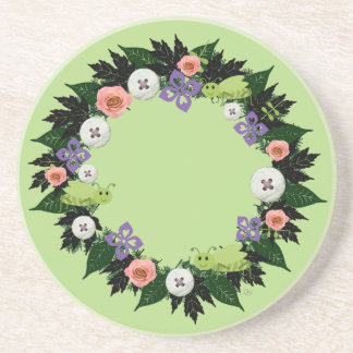 "Wreath ""Green Grasshopper"" Purple Flowers Coasters"