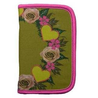 "Wreath ""Green Heart"" Pink Flowers Folio Planner"