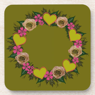 "Wreath ""Green Heart"" Pink Flowers Hearts Coasters"