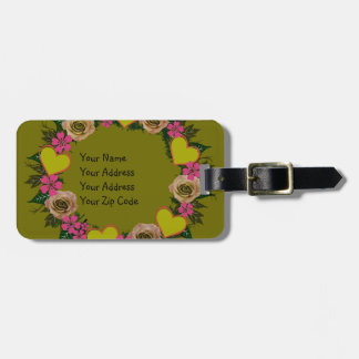 """Wreath """"Green Heart"""" Pink Flowers Luggage Tag"""
