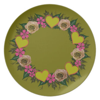 "Wreath ""Green Heart"" Pink Flowers Melamine Plate"