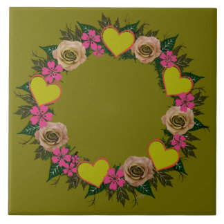 "Wreath ""Green Heart"" Pink Flowers Trivet"
