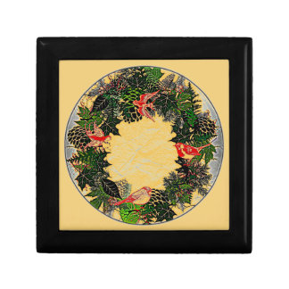 """Wreath """"Green Pine Cone"""" Flower Floral Jewelry Box"""