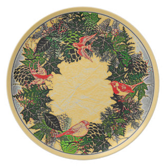"Wreath ""Green Pine Cone"" Flowers Floral Plate"