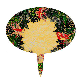 "Wreath ""Green Pine Cone"" Red Birds Cake Pick"