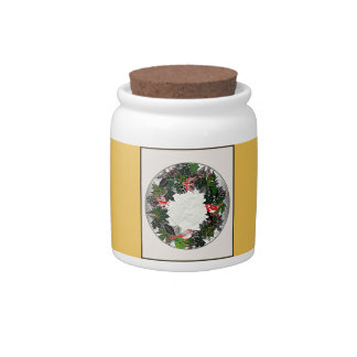 "Wreath ""Green Pine Cone"" Red Birds Candy Jar"