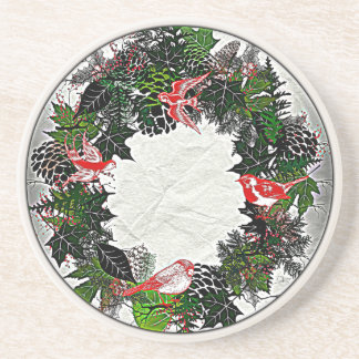 "Wreath ""Green Pine Cone"" Red Birds Coasters"