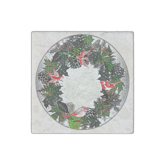 """Wreath """"Green Pine Cone"""" Red Birds Magnet Stone Magnet"""