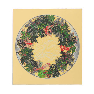 "Wreath ""Green Pine Cone"" Red Birds Notepad"