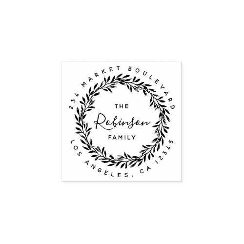 Wreath Handwritten Family Name Return Address Rubber Stamp