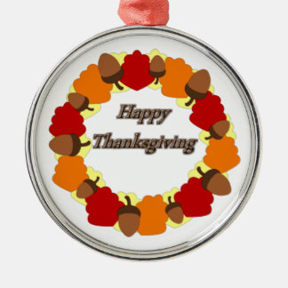 Wreath ~ Happy Thanksgiving Metal Ornament