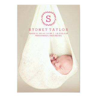 Wreath Initial Birth Announcement - Pink