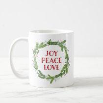 Wreath Joy Peace Love Christmas Coffee Mug
