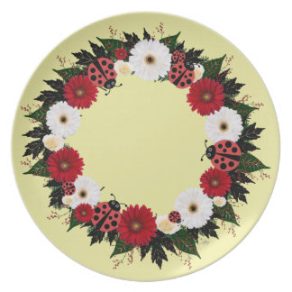 "Wreath ""Lady Bug"" Red Flowers Melamine Plate"