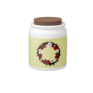 """Wreath """"Lady Bug"""" Red/White Flowers Candy Jar"""