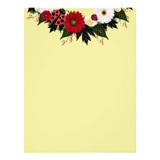 "Wreath ""Lady Bug"" Red/White Flowers Letterhead"