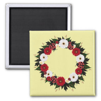 """Wreath """"Lady Bug"""" Red/White Flowers Magnet"""