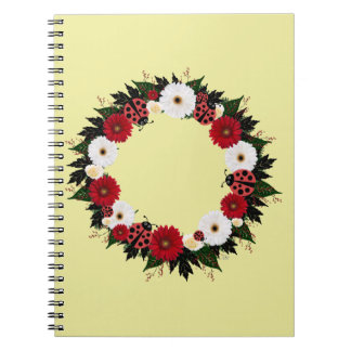 """Wreath """"Lady Bug"""" Red/White Flowers Notebook"""