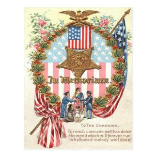 Wreath Lady Liberty US Flag Rose Postcard