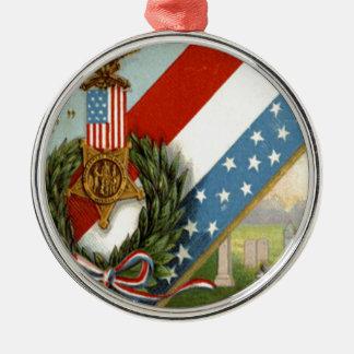 Wreath Medal Cemetery Us Flag Metal Ornament