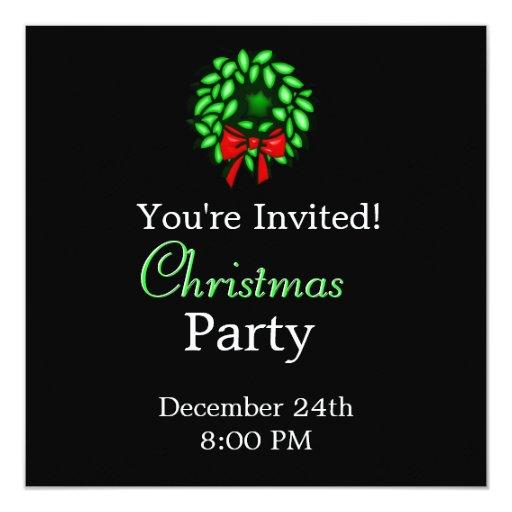 Wreath - Merry Christmas Party Invitation
