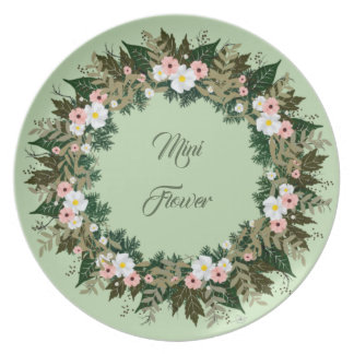"Wreath ""Mini Flower"" Flowers Floral Melamine Plate"