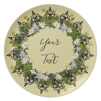 "Wreath ""Mini White"" Flowers Floral Melamine Plate"