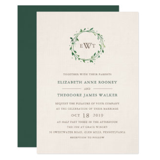 Wreath Monogram Wedding Invitation | Forest