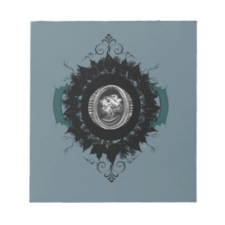 "Wreath ""My Cameo"" Cameo Black Leaf Notepad"