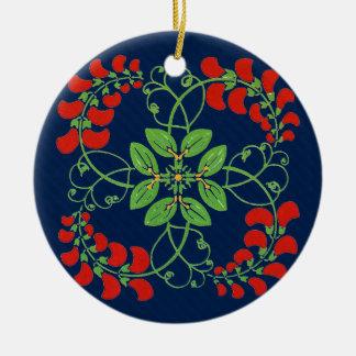 Wreath of Flowers Art Nouveau Elegance Ceramic Ornament