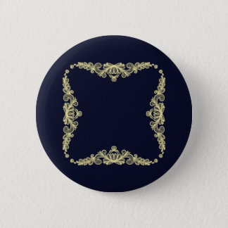 Wreath of Gold Flowers on Navy Blue Button