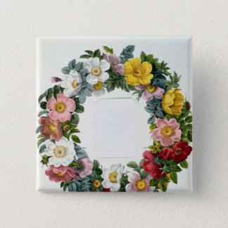 Wreath of Roses, Frontispiece for 'Les Roses' Pinback Button