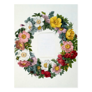 Wreath of Roses, Frontispiece for 'Les Roses' Postcard