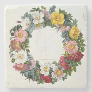 Wreath of Roses, Frontispiece for 'Les Roses' Stone Coaster