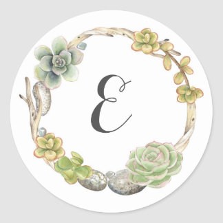 Wreath of Succulents, Twigs and Stones | Monogram Classic Round Sticker