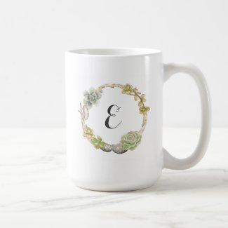 Wreath of Succulents, Twigs and Stones | Monogram Coffee Mug