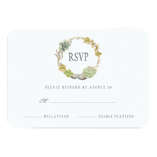 Wreath of Succulents, Twigs and Stones | RSVP Card