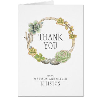 Wreath of Succulents, Twigs and Stones | Thank You Card