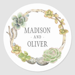 Wreath of Succulents, Twigs and Stones   Wedding Classic Round Sticker