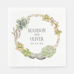 Wreath of Succulents, Twigs and Stones   Wedding Napkin