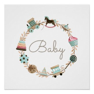Wreath of Toys Personalized Nursery Poster Print