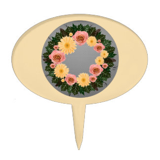 "Wreath ""Old Fashion"" Peach/Pink Flowers Cake Pick"