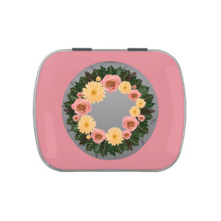 "Wreath ""Old Fashion"" Peach/Pink Flowers Candy Tin"