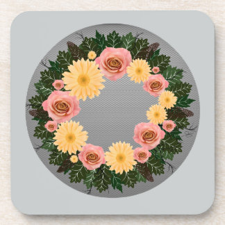 """Wreath """"Old Fashion"""" Peach/Pink Flowers Coasters"""