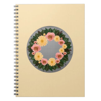"""Wreath """"Old Fashion"""" Peach/Pink Flowers Notebook"""