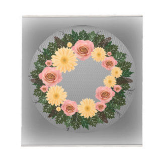 "Wreath ""Old Fashion"" Peach/Pink Flowers Notepad"